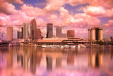 Tampa Florida skyline during colorful sunset - 61558465