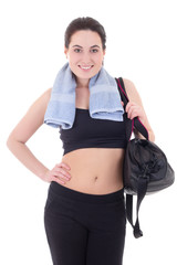 happy slim woman with sporty bag isolated on white