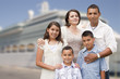 Young Happy Hispanic Family In Front of Cruise Ship