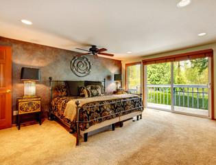 Elegant antique bedroom with walkout deck
