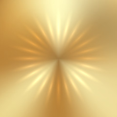 Vector abstract golden sun on gold textured background