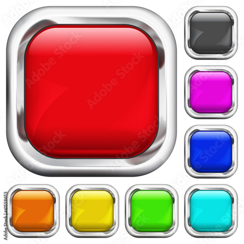 Set of square multicolored buttons
