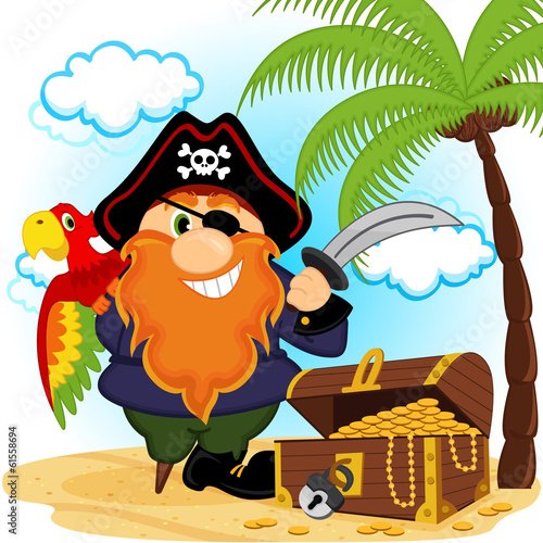 pirate with a parrot -  vector illustration