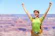 Celebrating happy hiker woman Grand Canyon