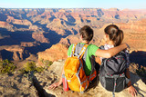 Hiking hikers in Grand Canyon enjoying view