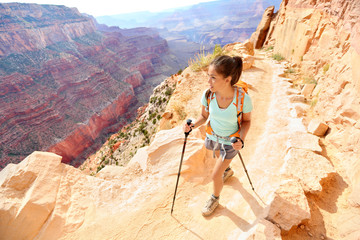 Hiker woman hiking in Grand Canyon