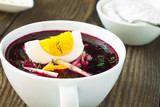 Cold vegetable soup with beetroot and  cucumber