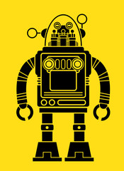 Retro Tin Toy Robot Silhouette
