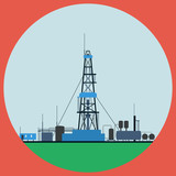 Oil rig flat vector illustration