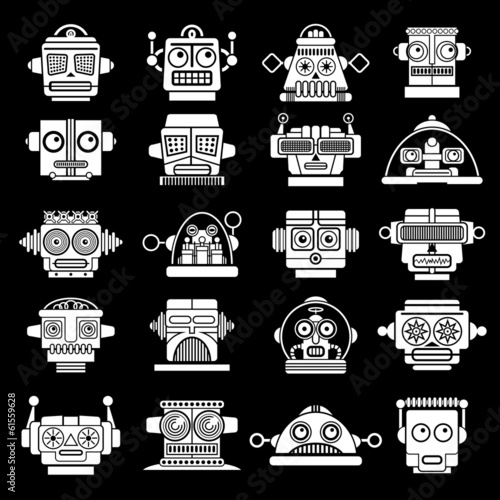 Retro Vintage Robot heads on Black Background