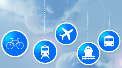 Dangling on strings travel icons animated.