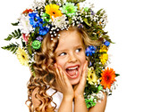 Child with flower hairstyle.
