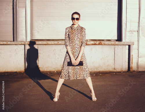 Stylish woman in a leopard dress, glasses and bag in the ghetto