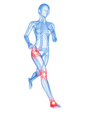 medical 3d illustration - jogger having pain in the joints