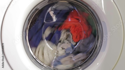 Washing machine turning - front view