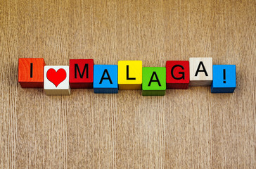 Malaga, Spain, sign series for holiday destinations and travel.