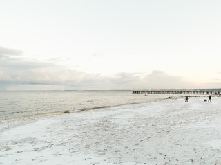 Baltic sea Gdynia, pier in Orlowo Poland. Winter scenery