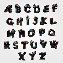 Vector set alphabet with tessellated geometric protrusions
