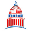 Capitol building icon red and blue