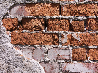 A red old brick masonry