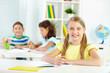 Schoolchild at desk
