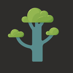 Flat icon illustration of a tree in spring