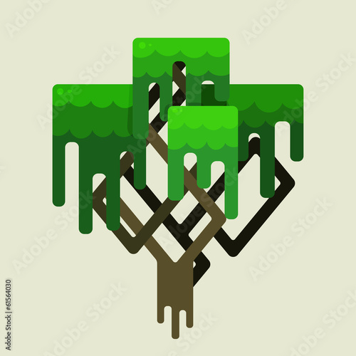 Stylized geometric design of green trees