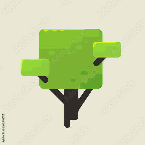 Illustration of a square tree with green foliage