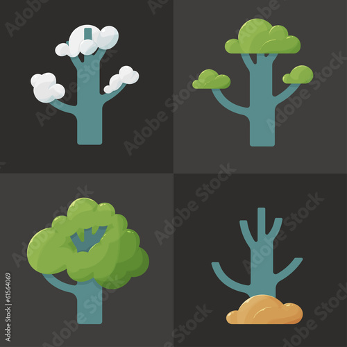 Flat icon illustration of a tree in different seasons
