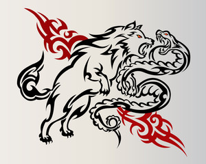 The wolf fight with snake tattoos on gray background