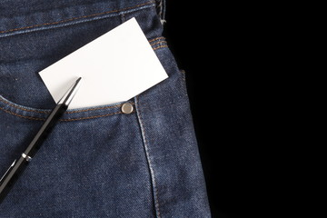 blank  card at jeans