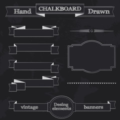 Chalkboard Style Banners, Ribbons and Frames