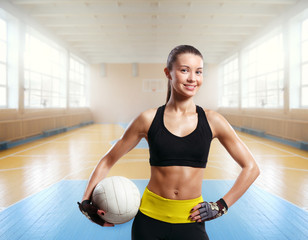 young beautiful girl indoor in volleyball game sport sport arena