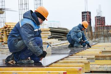 construction worker preparing formwork