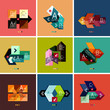 Set of flat design geometric infographic templates