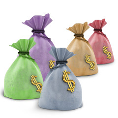 Five colored bag and dollars