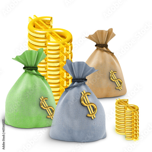 Three colored bag and dollars