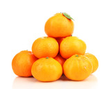 Ripe sweet tangerines, isolated on white