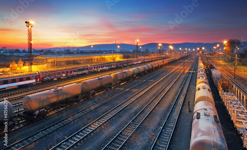 canvas print picture Cargo freight train railroad station