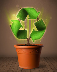 Recycle sign growing out of flowerpot