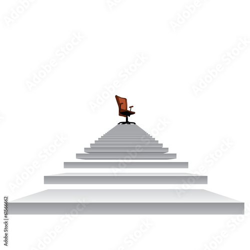 White stair with a chair