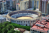 Aerial view of Bullring arena in Malaga, Spain