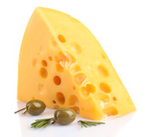 Piece of cheese with green olives, isolated on white