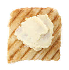 Grilled bread with butter, isolated on white