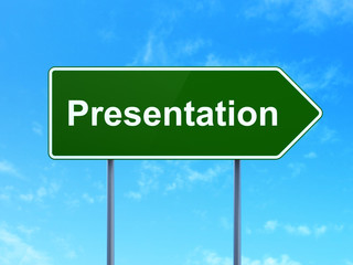 Advertising concept: Presentation on road sign background