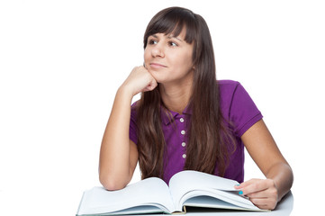 attractive caucasian thoughtful girl with book