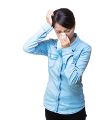 Asia woman sneeze isolated
