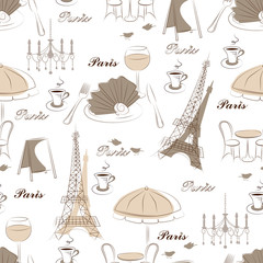 Stylish seamless pattern with eiffel tower , cafe and bird