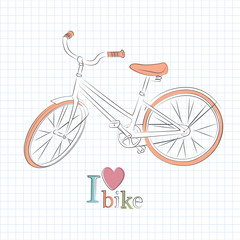 Retro bicycle. Vector