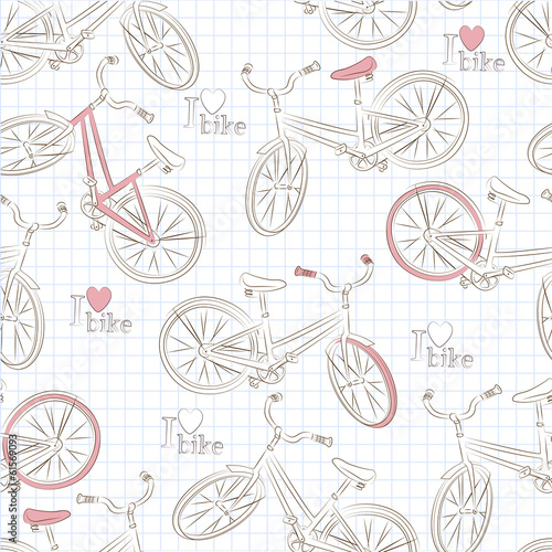 Seamless pattern with retro bicycle . Vector